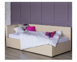 Односпальная кровать-тахта Bonna 900 беж кожа с подъемным механи фото