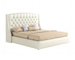 """Мягкая двуспальная кровать """"Стефани"""" 1600 белая с фото"""